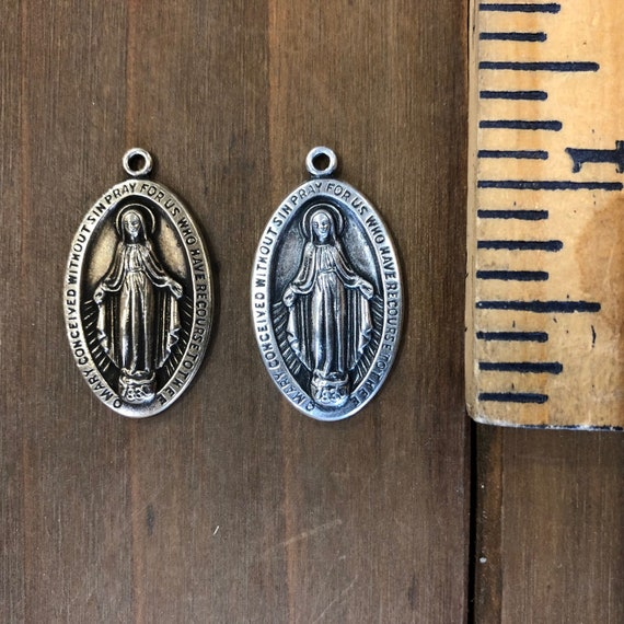 Solid Brass Finding USA Made. Small Mother Mary Medallion Pendant Stamping