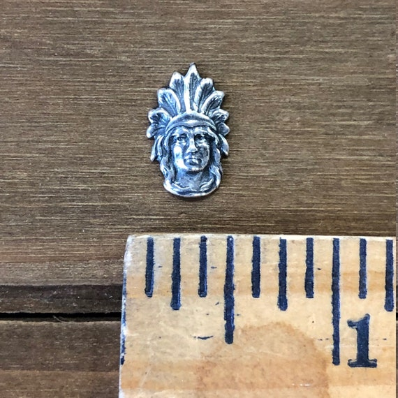 Small Native American Head Stamping Solid Brass Finding USA Made.