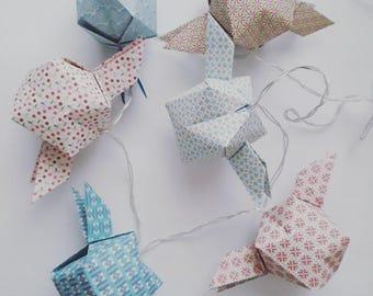 LED Lichterkette Origami Pastelle-Origami Garland