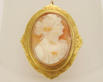 10K Yellow Gold Art Nouveau Shell Cameo Brooch Pendant 8.2 grams