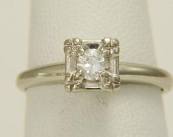 Vintage Old European Cut Diamond Solitaire Ring 14K White Gold Size 5