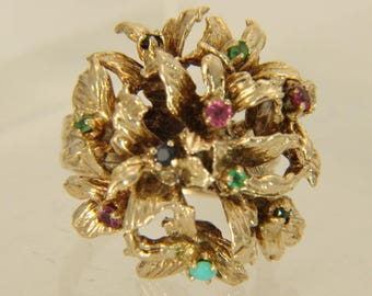 Multi-Gemstone 14K Yellow Gold Vintage Floral Bouquet Ring Size 5