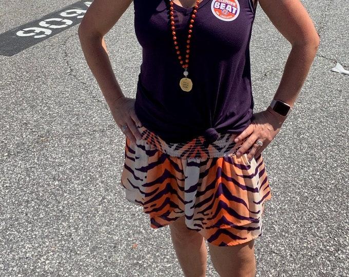 Orange and purple Tiger striped skort