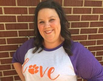 Womens Clemson Love Raglan Shirt, Clemson football, Clemson baseball
