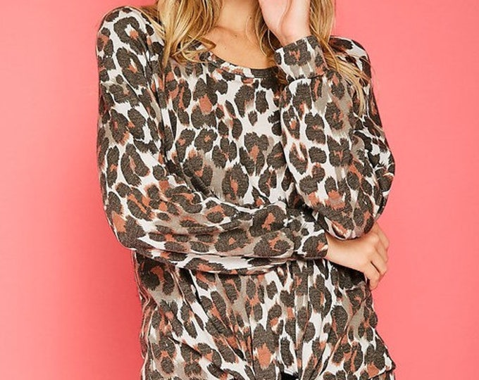 Leopard top with tie front