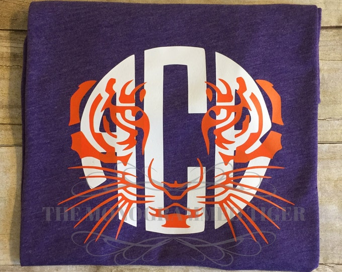 Orange and Purple  Tiger Face Monogrammed Tee
