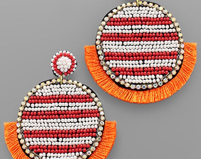 Orange and white post back earrings