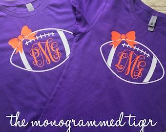 Clemson Girls Monogrammed Football Shirt, Orange and Purple, Game Day Shirt