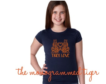 Girls Navy and Orange Football Tee, Tiger Love, gameday shirt