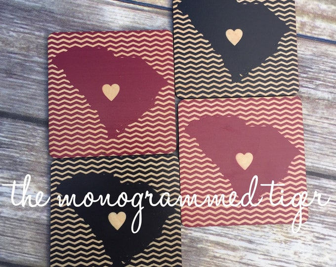 Black and garnet coasters