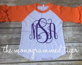 Orange ruffle raglan tee with purple monogram or monogram color of your choice