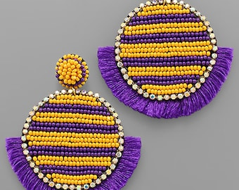 Purple and yellow post back earrings