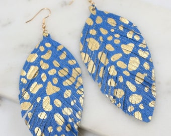 Blue and Gold Feather Earrings