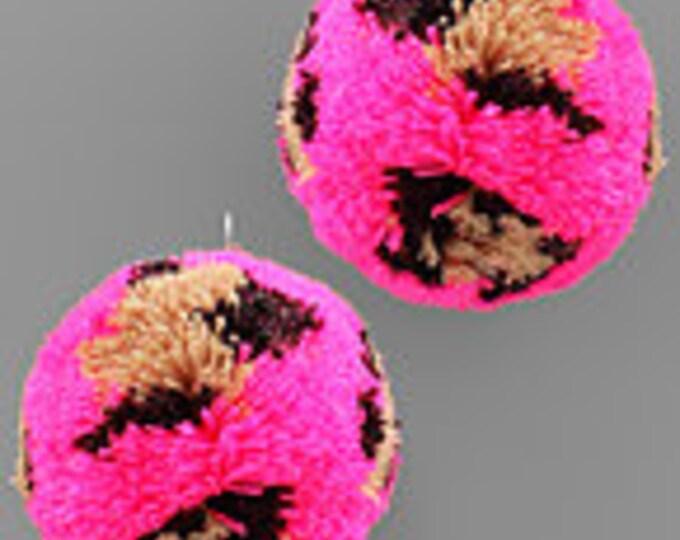 Oversized Leopard PomPom Earrings