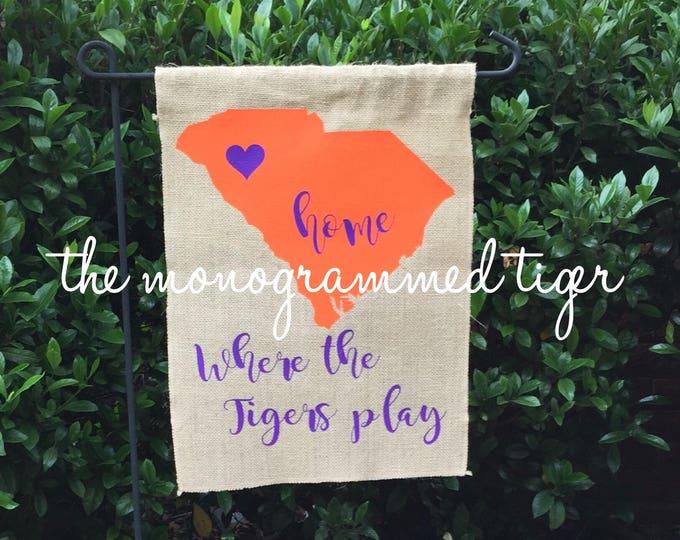 Burlap Garden Flag purple and orange, Clemson garden flag, Clemson football