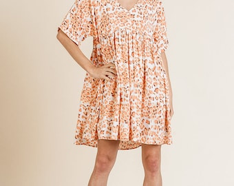 Coral Mix Dress with pockets