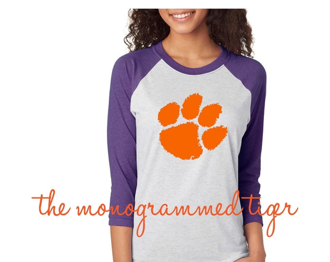 Womens Tiger Paw Raglan Shirt, Clemson football, Clemson baseball, Clemson basketball, Clemson softball