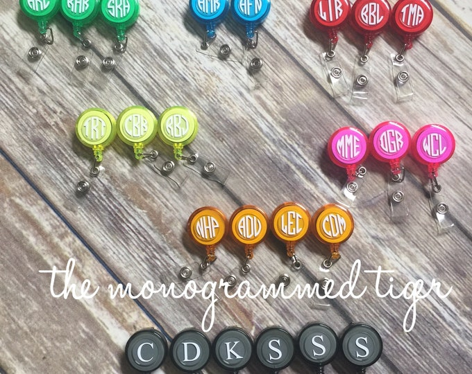 Badge holder, id holder, lanyard, monogrammed lanyard, Badge Reel, Nurse Retractable Badge Holder, Personalized Badge Reel, ID Badge Clip