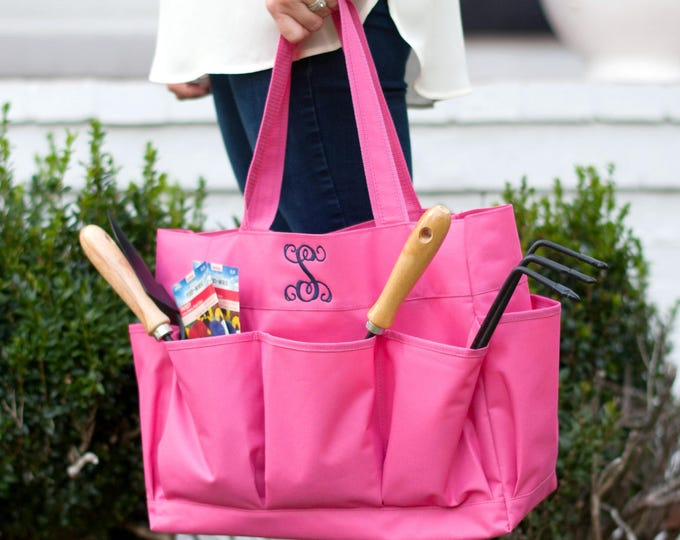Carry All Bag, Tote with pockets, Monogrammed tote bag, Monogrammed Carry All