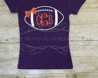 Clemson Girls Monogrammed Football Shirt, Orange and Purple, Game Day Shirt