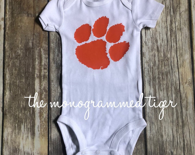 Clemson football bodysuit, Clemson football t shirt, Clemson bodysuit with last name