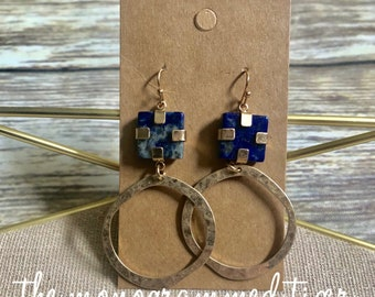 Blue and Gold Dangle Earring