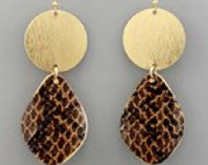 Brown snake and gold drop earrings