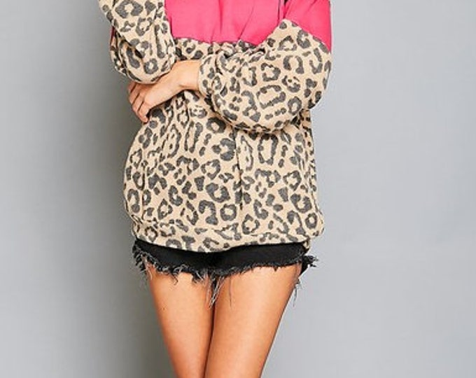 Leopard print block top