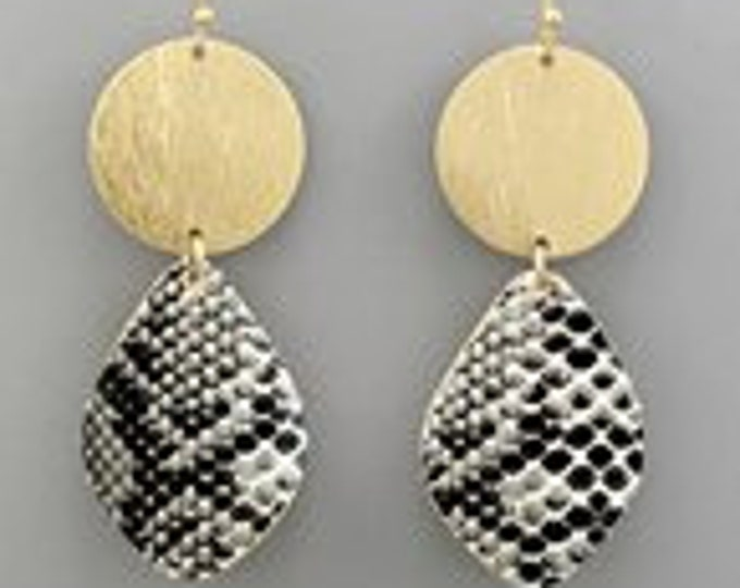 Black snake and gold drop earrings