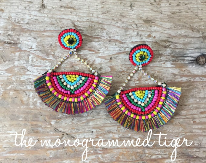 Beaded Wedge Tassel Earrings