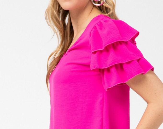 Hot pink ruffle top