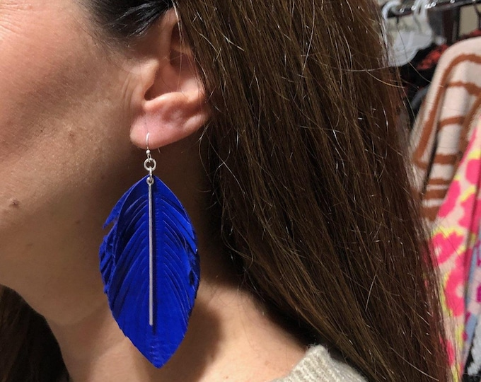 Blue genuine leather  feather earring