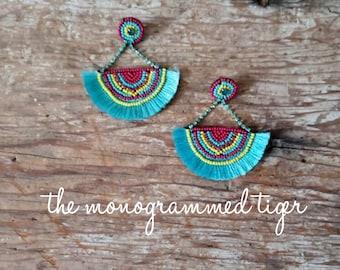 Beaded Wedge Tassel Earrings