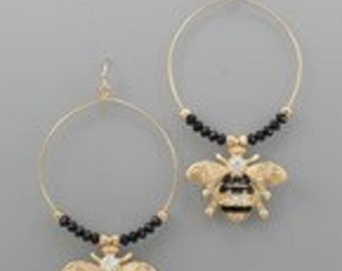 """Bee Charm Earrings * Glass * Crystal * Metal * Fish Hook * 3 1/2""""L"""