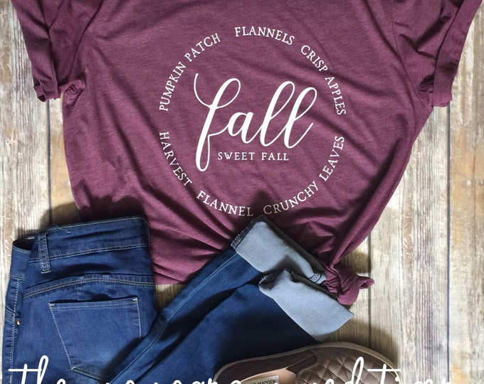 Love fall tee, Fall sweet Fall, Fall shirt women, Bella Canvas shirt, Fall Graphic Shirts, Screen Printed Graphic Tee