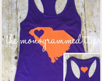 Fitted purple and orange tank