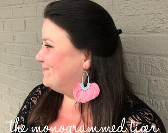 Fan Tassel Oval Earrings