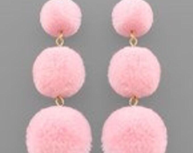Three Pompom Drop Earrings