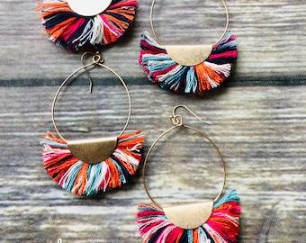Wedge Tassel Circle Earrings