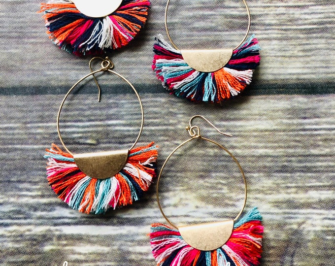 Wedge Tassel Circle Earrings
