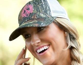 Camo Trucker Hat, MONOGRAMMED Camo TRUCKER Hat,  Personalized Cap, Women's hat, Summer Hat, Monogram Hat, Trucker Hat, Adjustable Hat