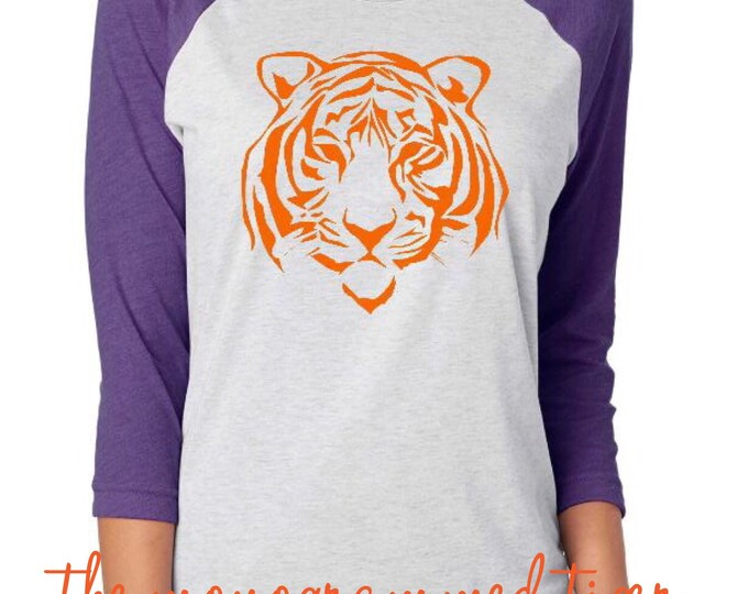 Womens Tiger Face Raglan Shirt, Clemson football, Clemson baseball, Clemson basketball, Clemson softball
