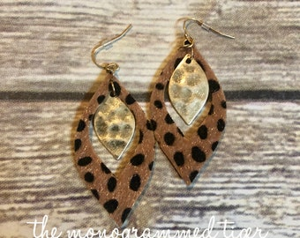 Leapord and Gold Hook Earring
