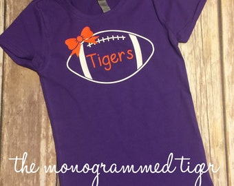 Clemson Girls Monogrammed Football Shirt, Orange and Purple