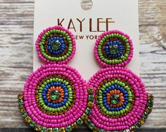 Hot pink statement earring
