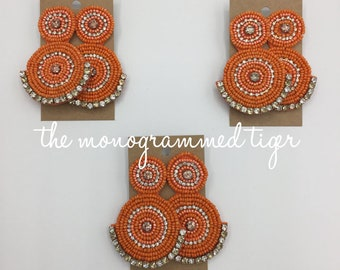 Orange post back earring