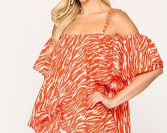 Tiger striped orange top