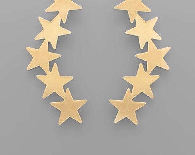 Curved Star Earrings
