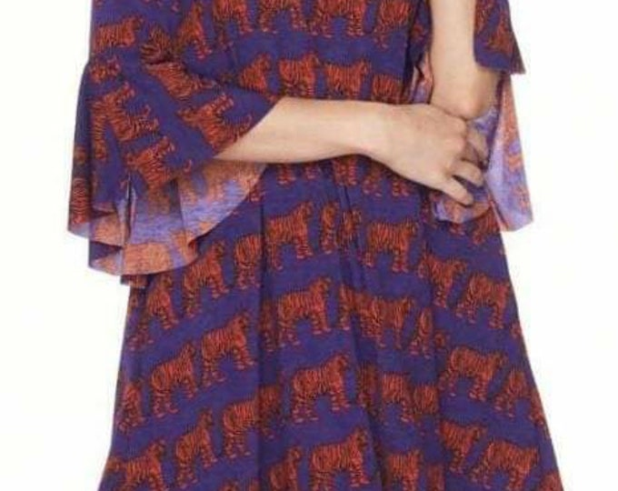 Tiger dress with bell sleeves