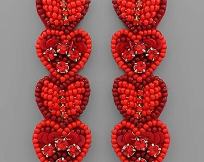 4 Beaded Heart Earrings